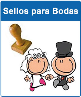 Sellos para bodas base madera